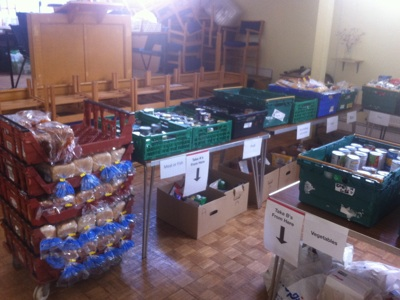 main hall laid out for sorting and bagging